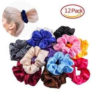 12Pcs Lady Satin Elastic Hair Scrunchies Hair Ties